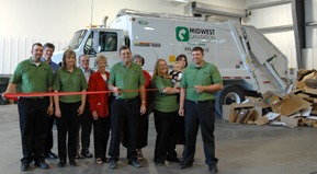 The ribbon is cut at the Oskaloosa recycling center